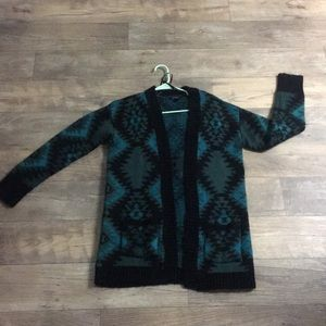 Forever 21 Teal and Black Tribal Print Cardigan